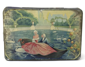 Art Deco Tin Box. Antique Biscuit Tin. Romantic French Candy Box.