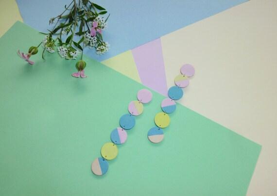 Leather Pastel Earrings / Pastel Pink, Blue, Yellow, Beige Leather / Geometric Colorblock Earrings/ Circle Earrings