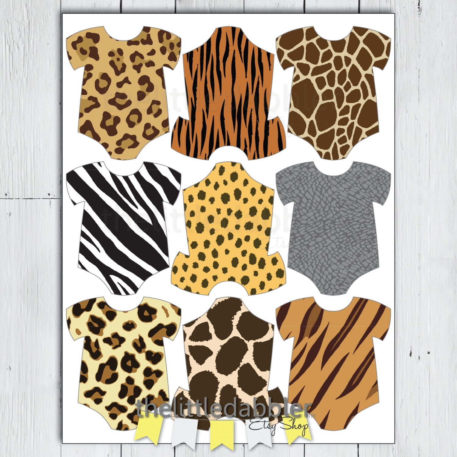 Safari Jungle Animal Print Baby Shower Mini Onesie Tags One