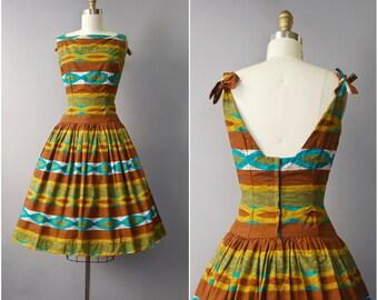 1950's Brown Cotton Drop Waist Sun Dress • extra small