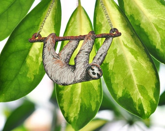 Sloth Hanging from a Branch Necklace - Illustrated Wooden Necklace