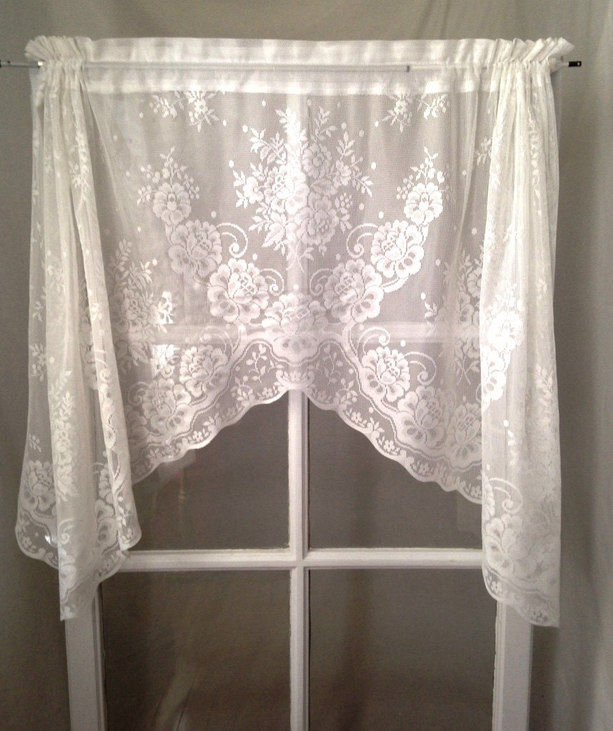 Scalloped White Lace Curtain Valance Cafe Panel Victorian