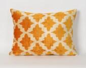 yellow velvet pillow, housewares, ikat pillows, lumbar pillow, ikat pillow cover, decorative pillows, home decor, silk velvet ikat, ikat