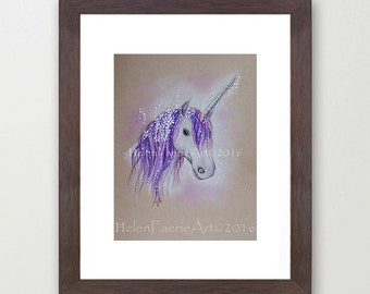 Small Print 5 x 7 inches, Lilac Dreaming Unicorn, Fantasy, Fairy Art, Birthday Gifts, Unicorns, Mythical Creatures, Lilac purple, Wall art
