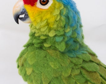 Rico the Red-Lored Amazon Parrot: Needle felted animal sculpture