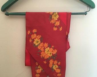 Red Floral Pointed 'Vera' Scarf - Vintage 1970s// red long floral scarf spring vintage