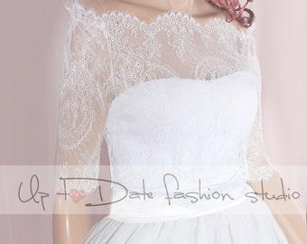 Off-Shoulder  /ivory/ wedding bolero/chantilly lace style /bridal shrug /jacket 3/4  sleeve