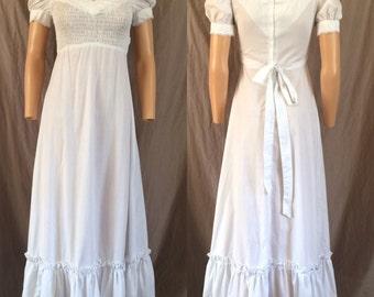 1970s Empire Waist Prairie Dress Smocked Bust Sz. S