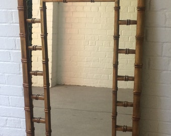 Large Gilt Faux Bamboo Wall Mirror