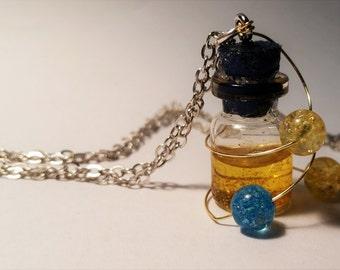 Joy Vial Necklace - Disney Inside Out Inspired - Handmade Corked Glass Bottle - Memory Balls