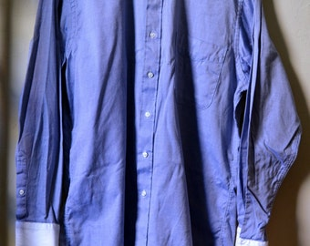 Vintage J PRESS Blue Royal Oxford w. White Contrast Cuffs/Collar Size 15.5/34 M Medium