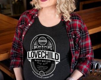 """Craft Beer & Maternity t-shirt- """"Lovechild Babyweiss""""- Women's t-shirt"""
