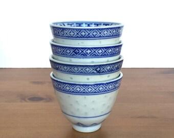 Vintage sake or tea cups set of 4 asian mugs blue flower design