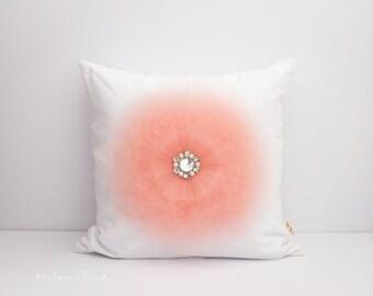 Pillow Covers Peach Flower Pillow Cover Decorative pillow Accent Pillow Throw Pillow Toss Pillow Handmade Pillow Case 16x16