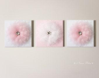 Nursery Decor - Girl Room Decor - Flower Art Wall Shiny Pink Flower 12X12 Canvas Home Decor Glimmer Nursery Art Girl Nursery Wall Decor