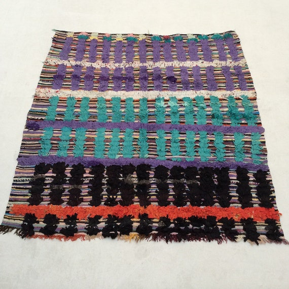 SQUARE RUG 5×5 Colorful Authentic Moroccan by