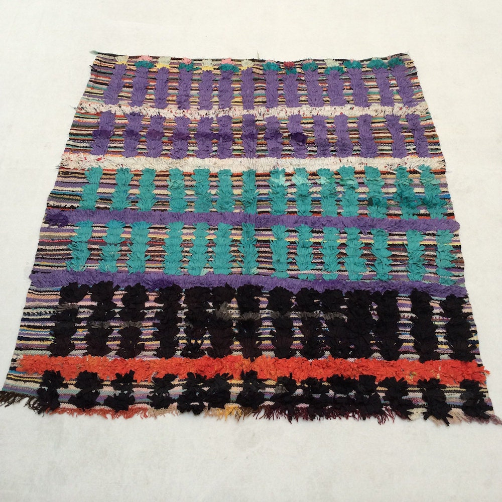 Desert Dance Turquoise Rug: SQUARE RUG 5x5 Colorful Authentic Moroccan By