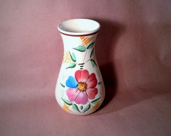 Vintage Flower Vase - Hand Painted Flower Design - Multicolored Petals - Espana