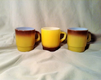 Set of 3 Anchor Hocking Fire King Coffee or Tea Mugs - Dark Yellow & Brown Stacking Coffee Cups - Retro Kitchen, Ovenproof - Made in USA