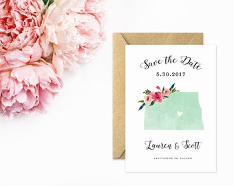 North Dakota Save The Date, State Save the Date in Mint Watercolor