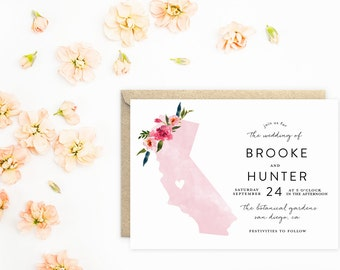 California Wedding Invitations, State Invitations, Watercolor with Flowers