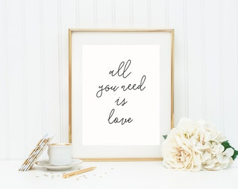 All You Need Is Love Art Print, Nursery Print, Nursery Decor in Custom Colors and Sizes