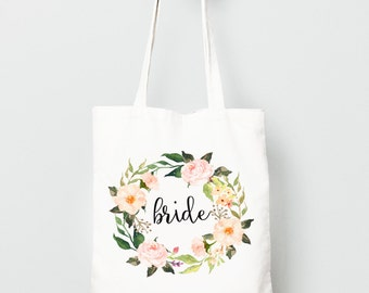 Wedding Party Gift, Personalized Canvas Tote Bag, Watercolor Flower Wreath