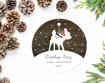 Baby's First Christmas Ornament, Personalized Children's Ornament, Little Deer on Wood Background with Snowflakes and Holly