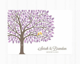 Guest Book - Wedding Guest Book - Tree Poster with 200 Leaves - Modern Wedding Guest Book Print in Purple
