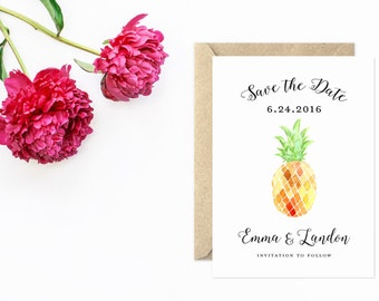Save The Date, Watercolor Pineapple Save the Date, Unique Save The Date