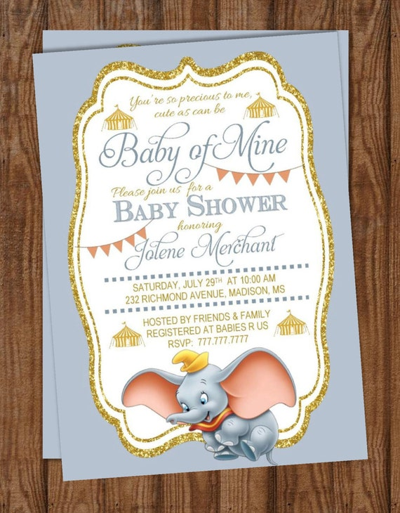 baby shower invitation baby of mine dumbo baby shower
