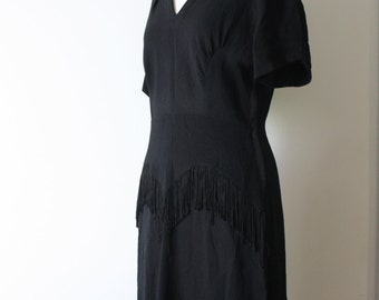 1940s Rayon Crepe Black Fringe Peplum Dress M