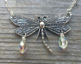 Silver Drangonfly Pendant Necklace With AB Swarovski Crystal Teardrops
