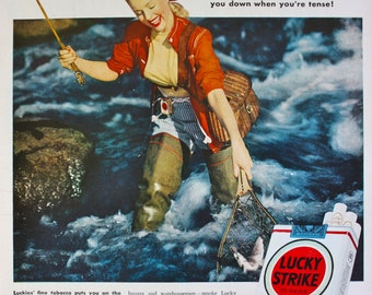 1949 ad Lucky Strike Cigarettes -Flying Fishing Woman photo Vintage Print ad ETK205