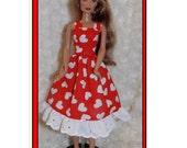 Handmade Barbie Valentines Day Dress. Valentine Heart Dress fit Barbie sized Fashion Dolls. Red & White Dress