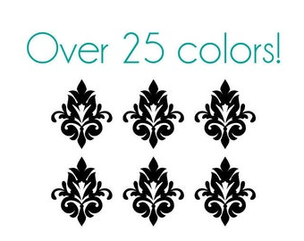 Damask Nail Decals - Vinyl, Custom choice of color