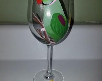 Alexandrian Parakeet wine glass hand painted