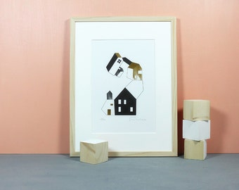 Haus.02 | Risoprint, Riso, risograph, risoprinted, House, stacked, Tower, architectural print, minimalistic, gold, black, limited, A4