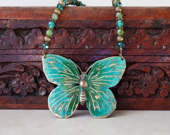 Butterfly pendant necklace-green turquoise hand painted butterfly- Bohemian necklace-Vintaj patina necklace-antique brass