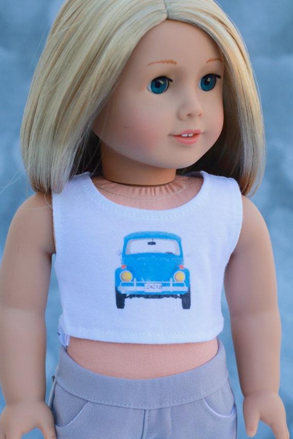 American Made Doll Clothes   Blue Volkswagen Beetle Bug CROP TANK TOP for 18 inch doll such as American Girl Doll