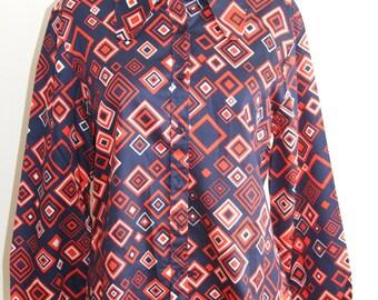 Vintage 1970s Geometric Print Ladies Cotton Shirt from ST MICHAEL (M&S) - Size 14