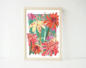 Echinacea A4 Print, Wall Art, Art Prints, Paper Goods, Nature Print, Flower Print, Flowers, Herbal Remedy, Prints, Home Decor