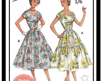 1950s Summer FrockSewing Pattern - Rockabilly  -  PDF Sewing Pattern - Instant Download