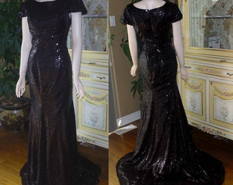 Black bridesmaid dress, Black sequin bridesmaid dress, Black sequin dress
