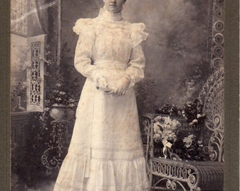 Antique Photo of Pretty Young Woman with Diploma