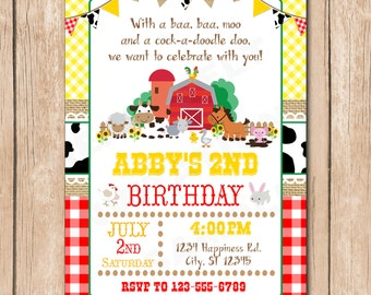 Farm Animal Birthday Party Invitation | Cow, Horse, Pig, Chicken, Bunny - 1.00 each printed or 12.00 DIY file