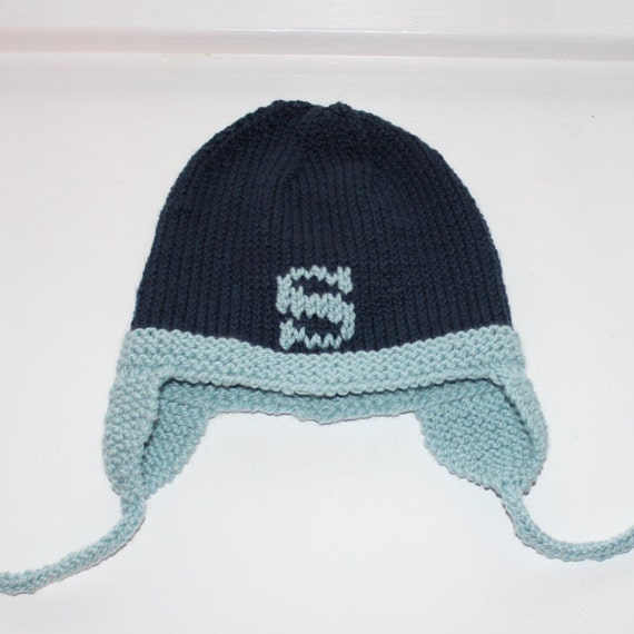 Hand-Knit Letter Hat with Earflaps for Baby/Child - Shown in Navy/Light Blue merino wool