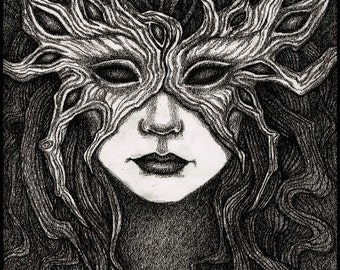 Forest Eyes Mask, Limited Edition Print, faerie, dark spooky art, haunting mysterious masked woman, ghostly forest spirit, Samhain image, A4
