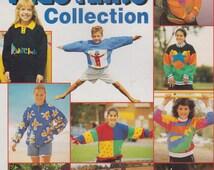 Vintage 1980s Knitting Patterns Children 3-16 years Sweater jumper Bright Bold Colourful designs Australiana Aussie Kids Knits Panda Yarn
