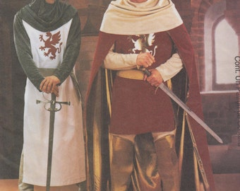 Costume Pattern - Camelot, King Arthur, Knight, Medieval, Crusader, Fantasy, Cosplay McCalls 3658 Uncut pattern Mens Large - X Large